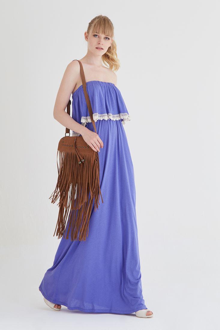 Bayan Mor Straplez Elbise