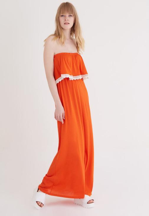 Turuncu Straplez Elbise