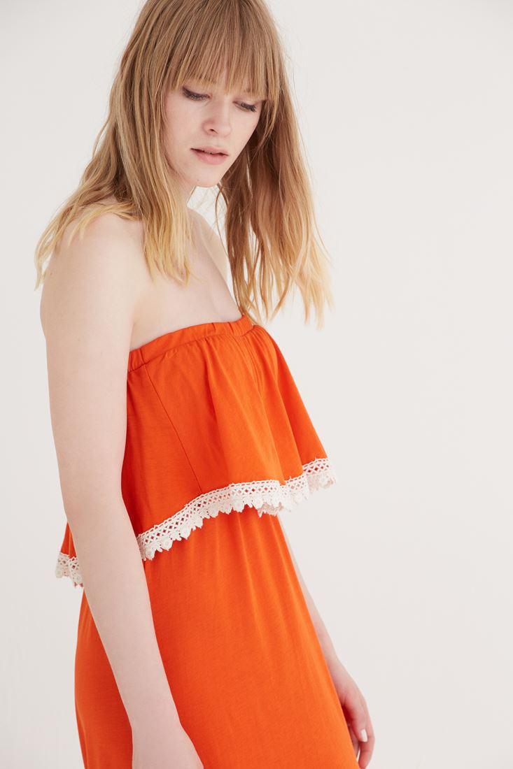 Bayan Turuncu Straplez Elbise