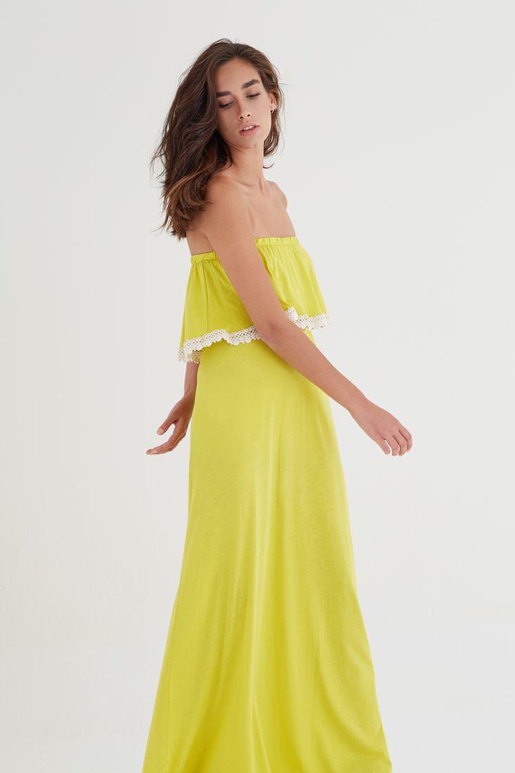 Bayan Sarı Straplez Elbise