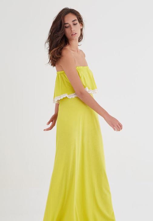 Sarı Straplez Elbise