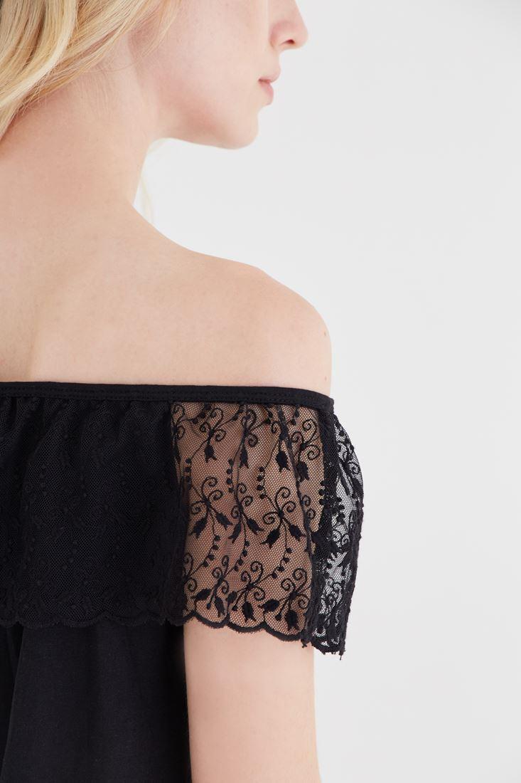 Bayan Siyah Omuzu Açık Bluz