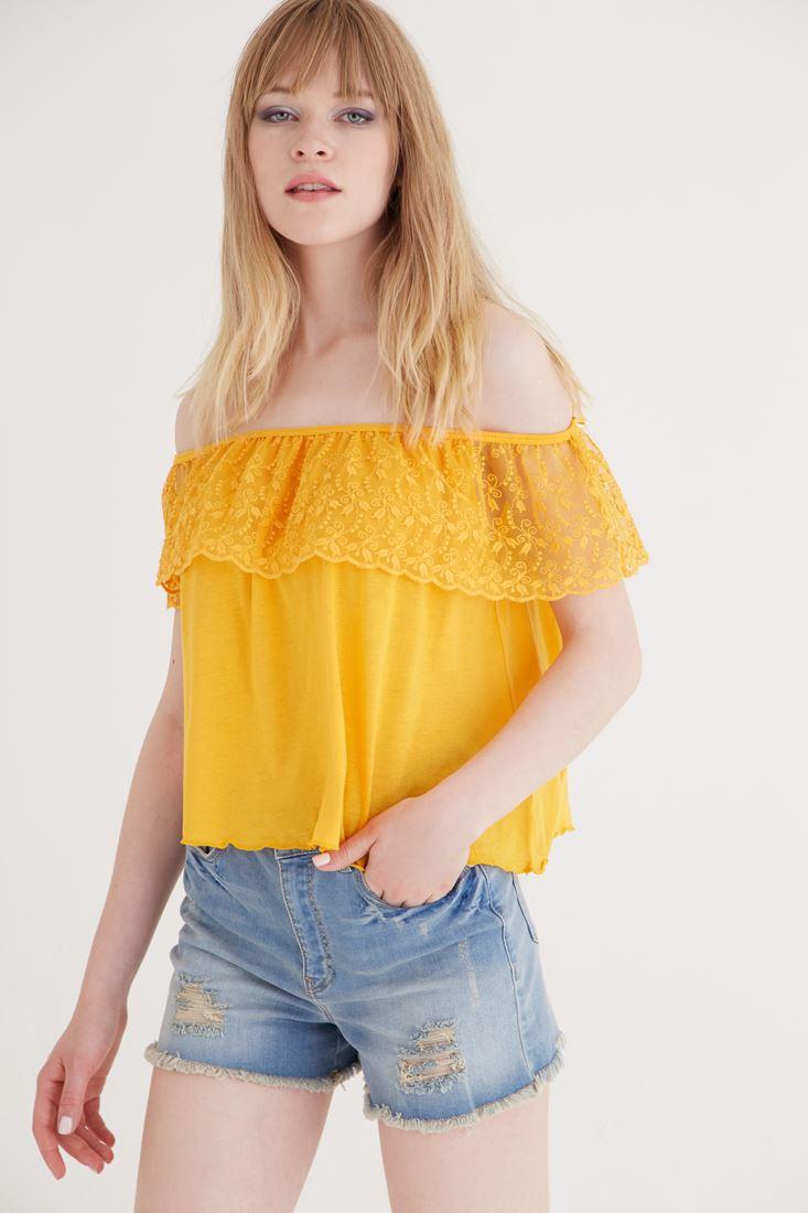 Sarı Omuzu Açık Bluz