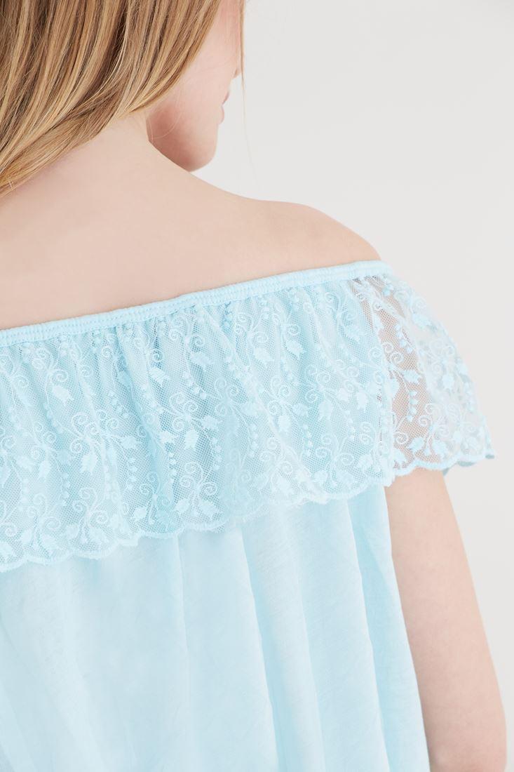 Bayan Mavi Omuzu Açık Bluz
