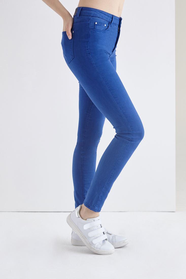 Bayan Mavi Esnek Kumaşlı Yüksek Bel Pantolon