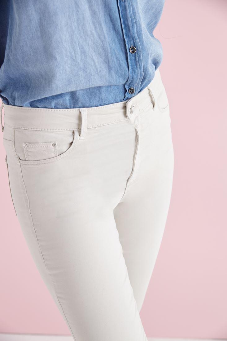 Bayan Krem Esnek Kumaşlı Yüksek Bel Pantolon