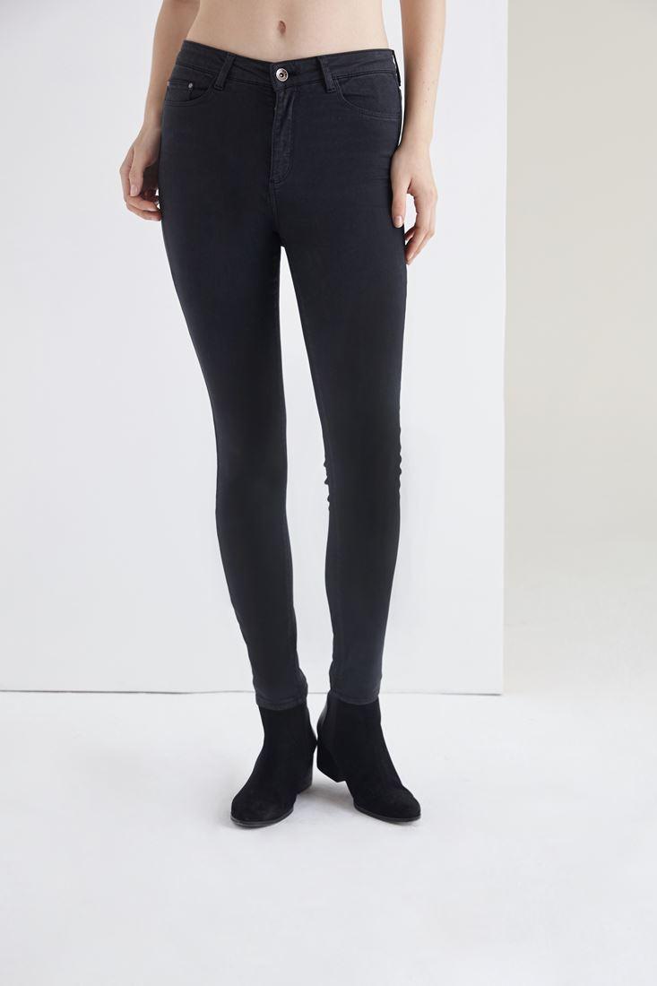 Bayan Siyah Esnek Kumaşlı Yüksek Bel Pantolon