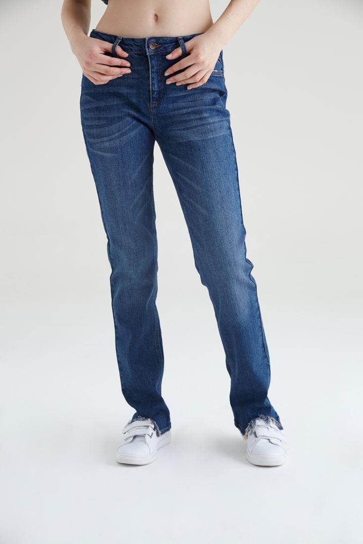 Bayan Mavi Paçaları Yırtık Detaylı Bol Kesim Jean