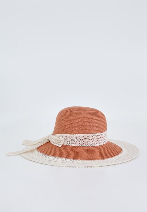 Turuncu Dantel Detaylı Hasır Şapka