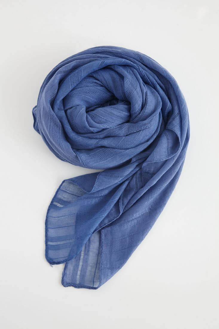 Bayan Mavi İnce Çizgi Detaylı Şal