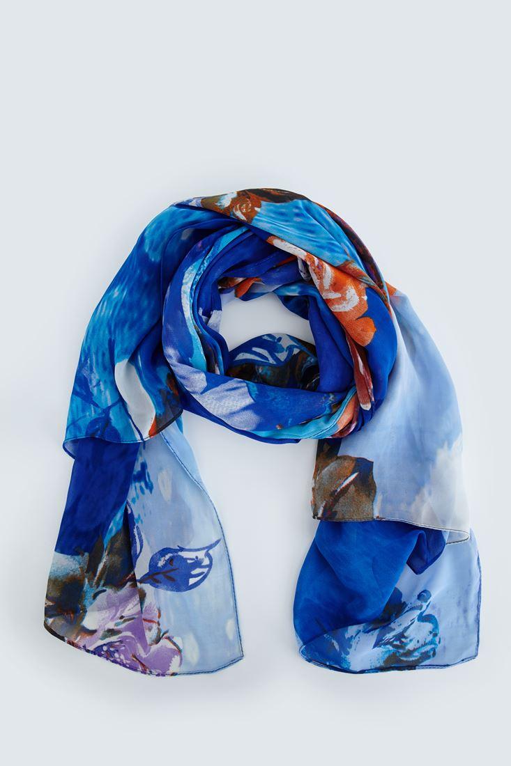 Mavi Çiçek Desenli Şal