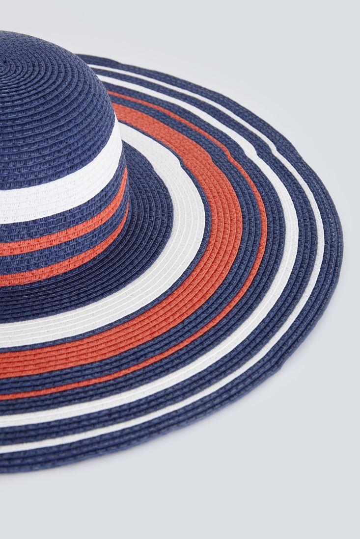 Lacivert Çizgili Hasır Şapka