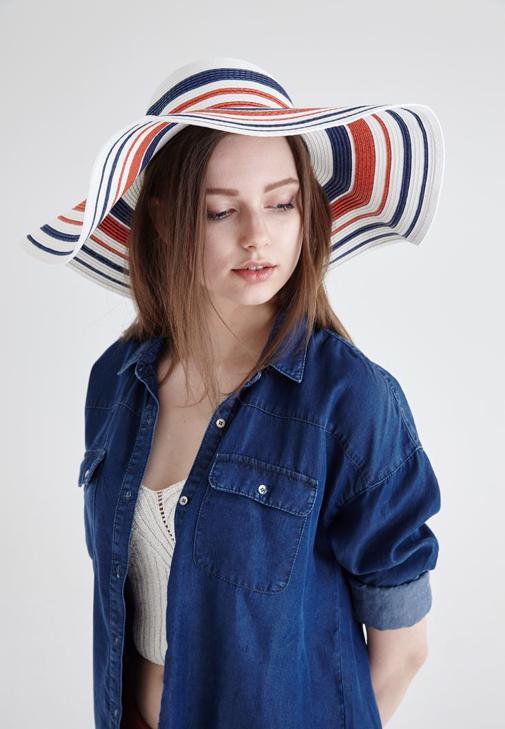 Beyaz Çizgili Hasır Şapka