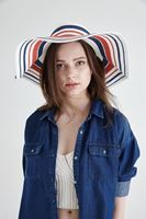 Bayan Beyaz Çizgili Hasır Şapka