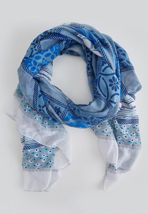 Mavi Desenli Renkli Şal