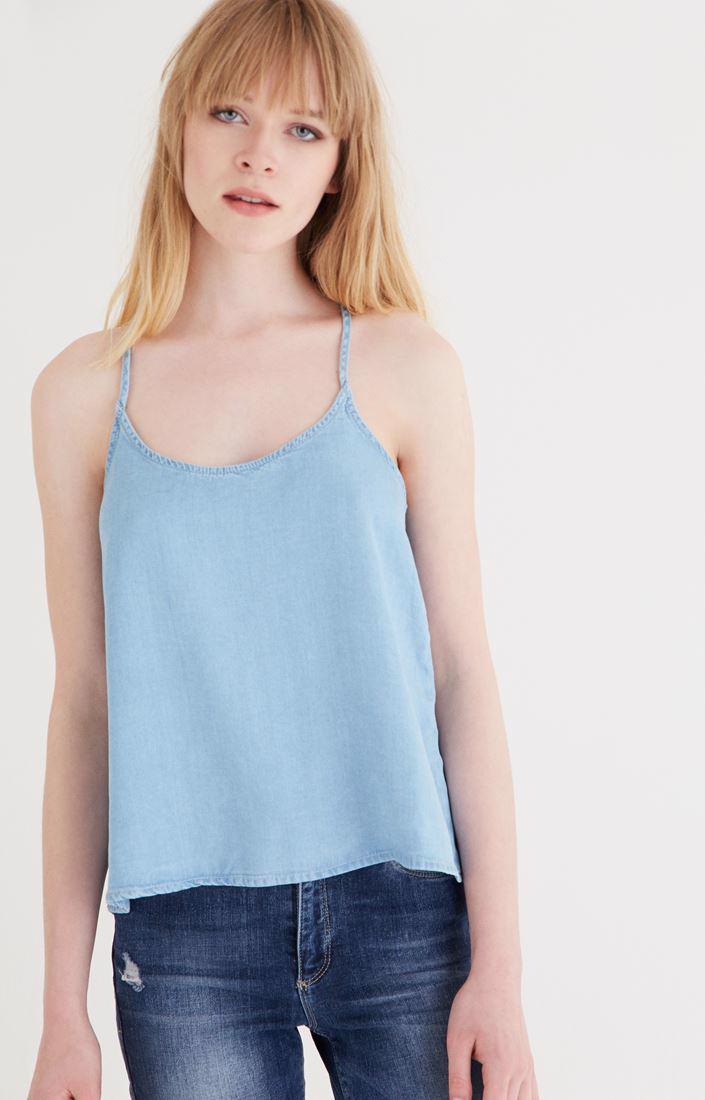 Bayan Mavi Askılı Bluz