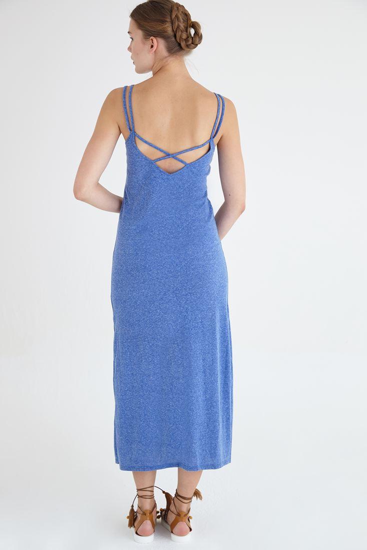 Bayan Mavi Nakış Detaylı Uzun Örme Elbise