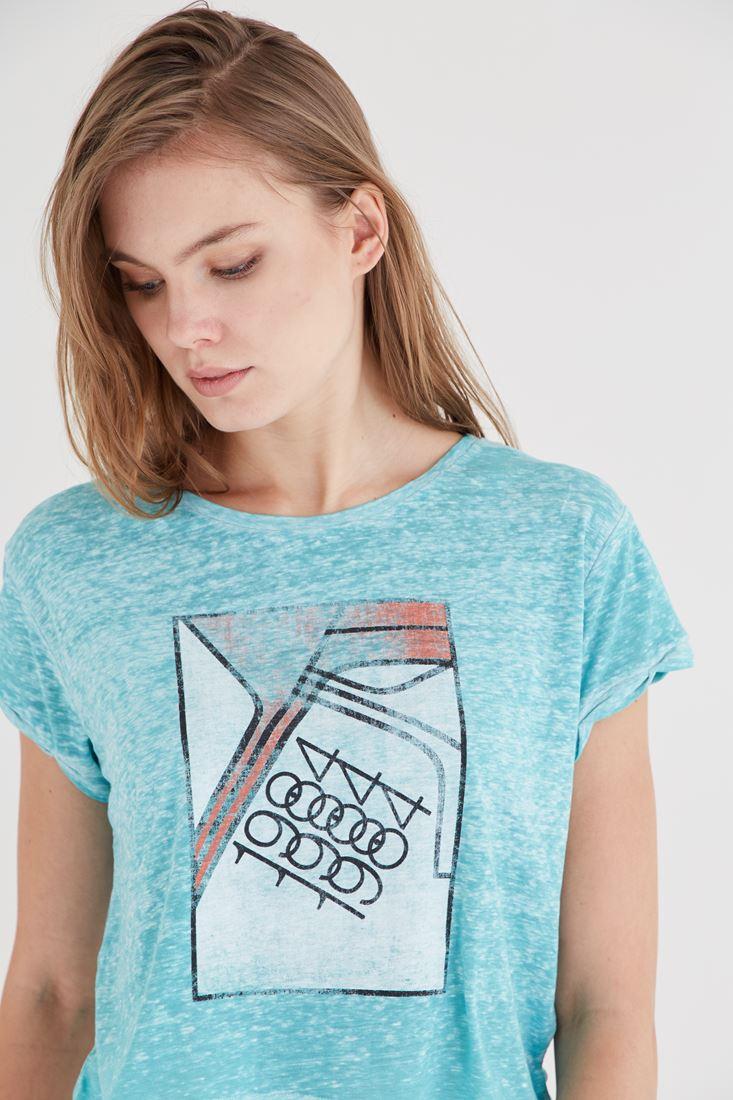 Bayan Mavi Desenli Tişört