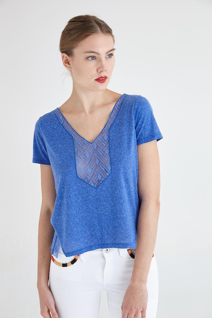 Bayan Mavi Dantel Detaylı Tişört