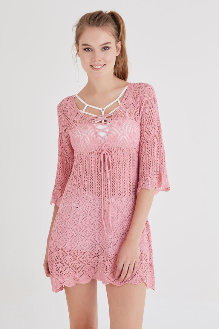 Bayan Pembe Bağcık Detaylı Örme Elbise