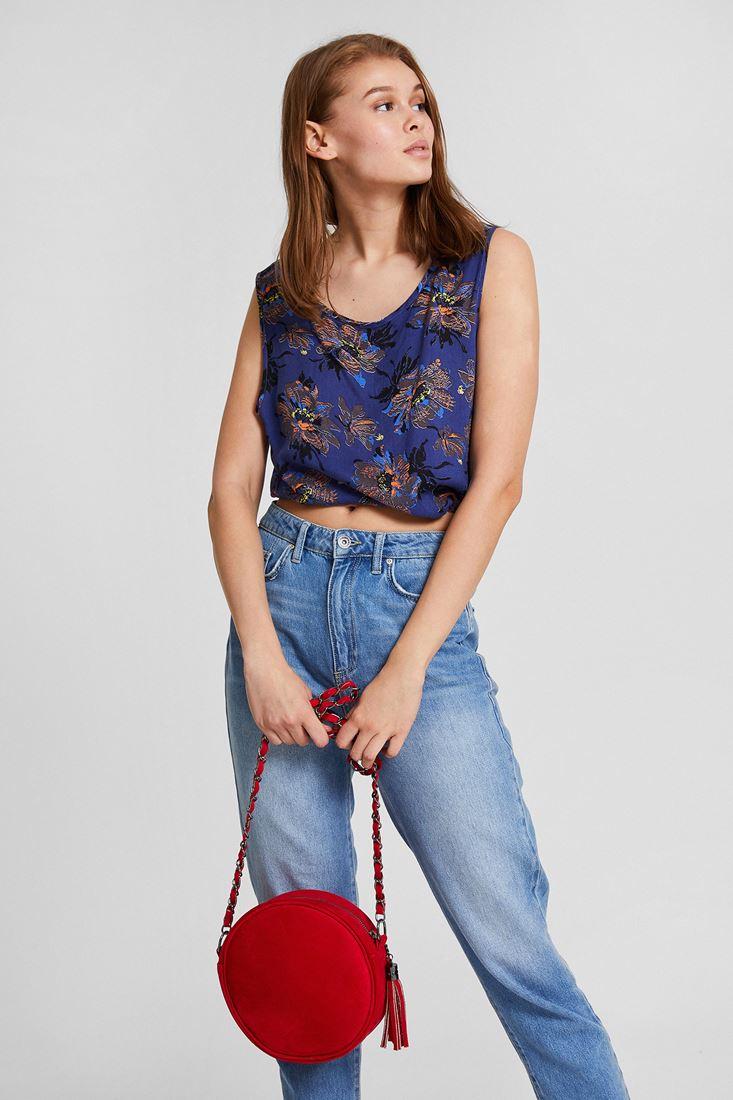 Bayan Çok Renkli Desenli Kısa Bluz
