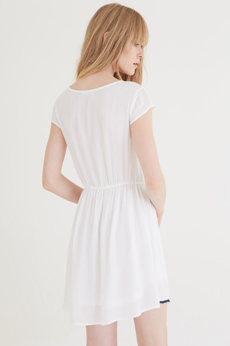 Bayan Krem Nakışlı Elbise