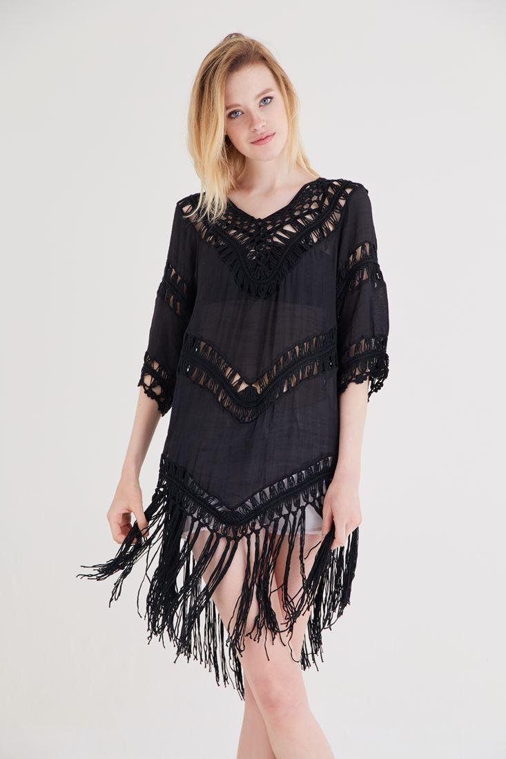 Siyah Püsküllü Elbise