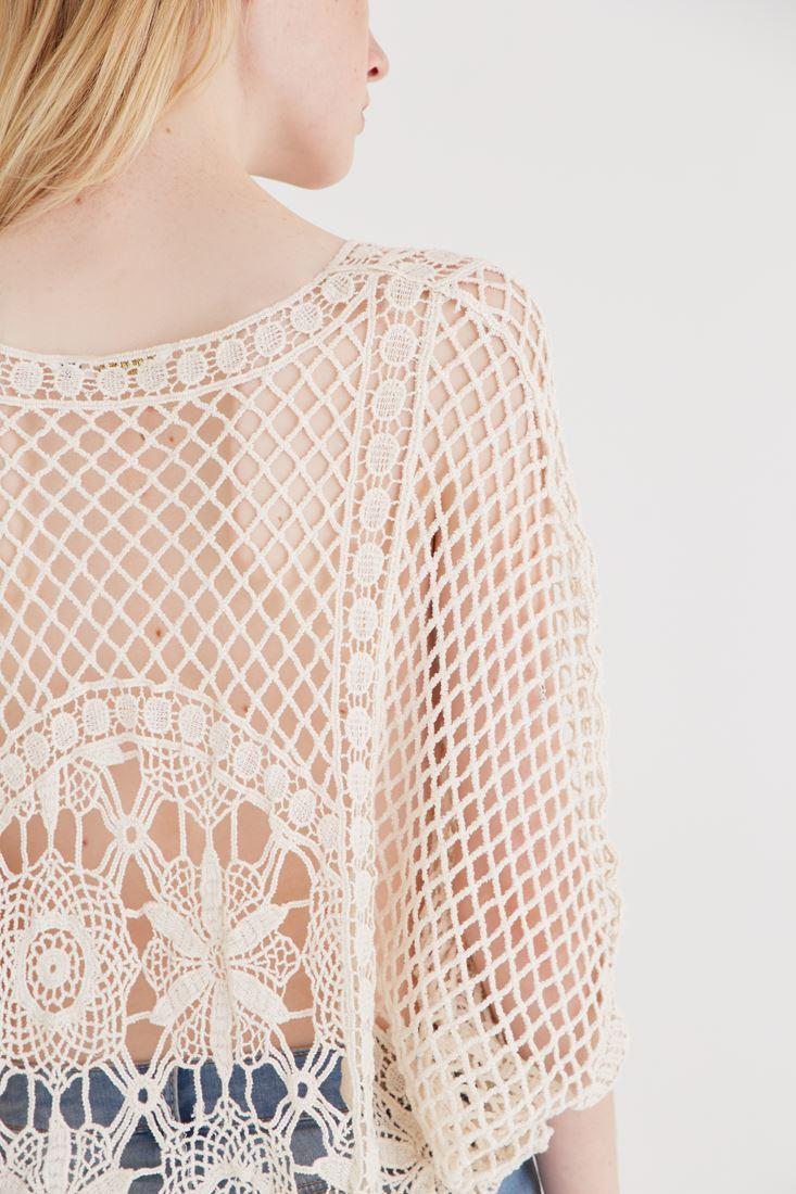 Bayan Krem Dantel Detaylı Bluz