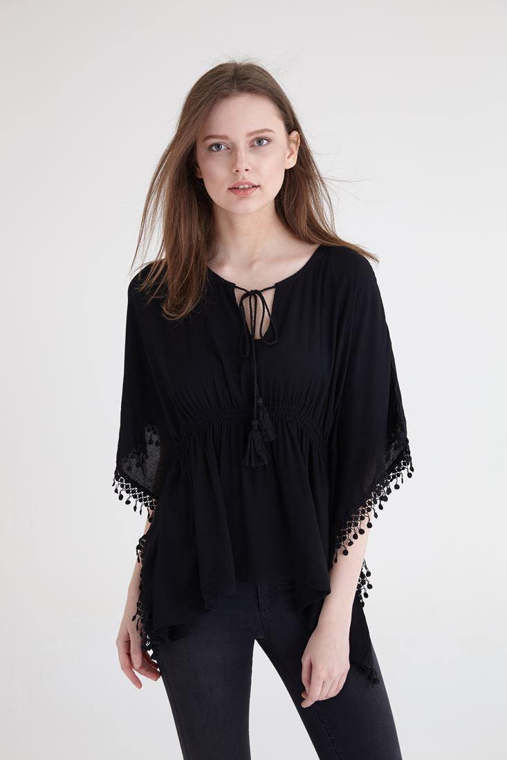 Bayan Siyah Dantel Detaylı Beli Büzgülü Bluz