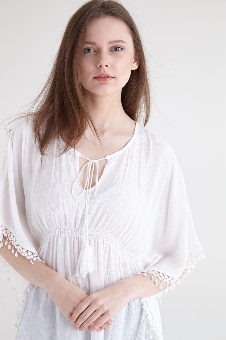 Bayan Krem Dantel Detaylı Beli Büzgülü Bluz