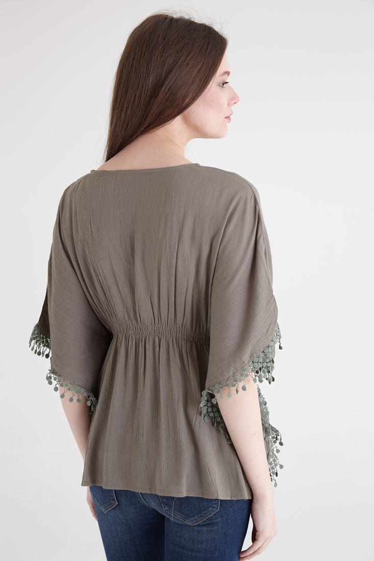 Bayan Yeşil Dantel Detaylı Beli Büzgülü Bluz