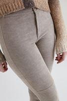 Bayan Krem Baskı Detaylı Dar Pantolon