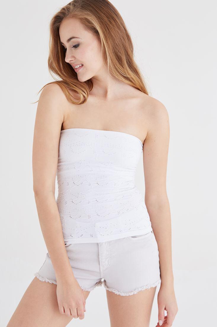 Bayan Beyaz Çiçek Desenli Straplez