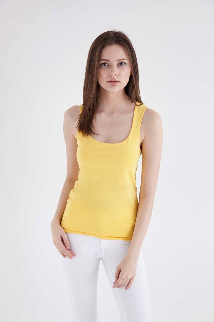 Bayan Sarı Kare Yaka Basic Atlet