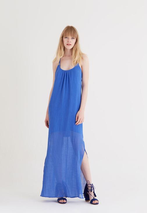 Mavi Uzun Askılı Elbise