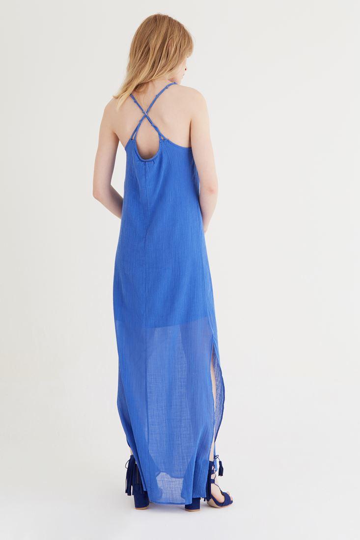 Bayan Mavi Uzun Askılı Elbise