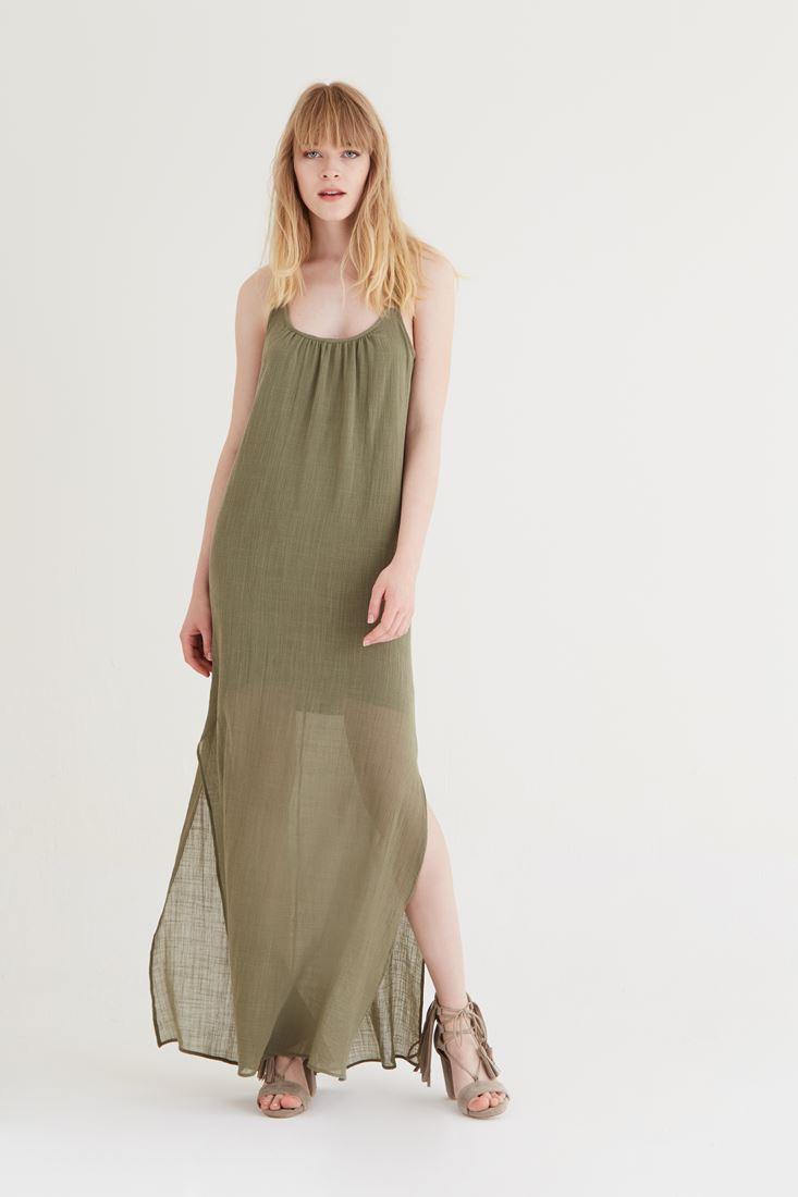 Bayan Yeşil Uzun Askılı Elbise