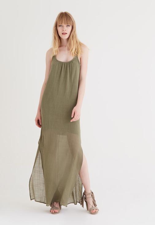 Yeşil Uzun Askılı Elbise