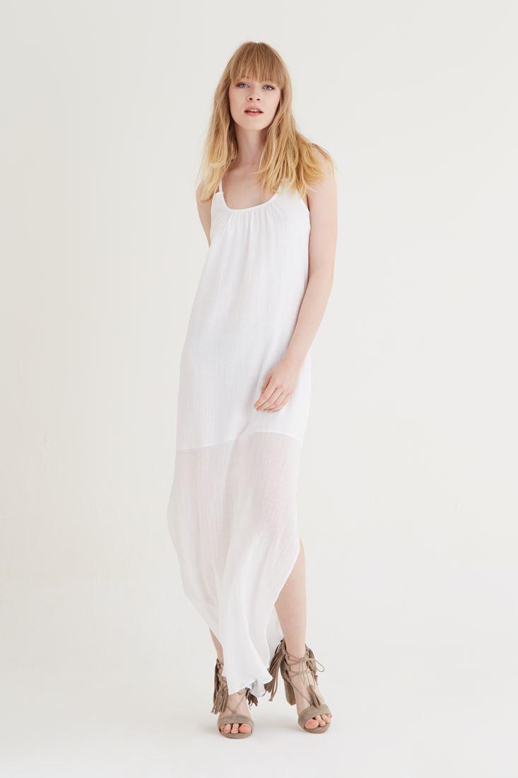 Bayan Beyaz Uzun Askılı Elbise