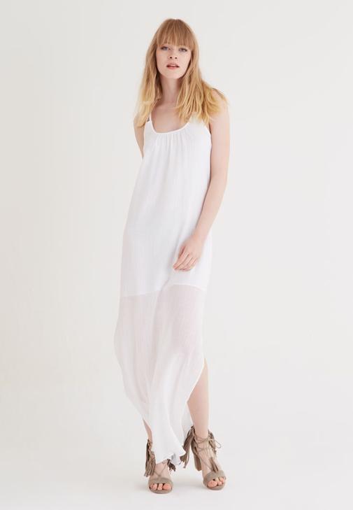 Beyaz Uzun Askılı Elbise