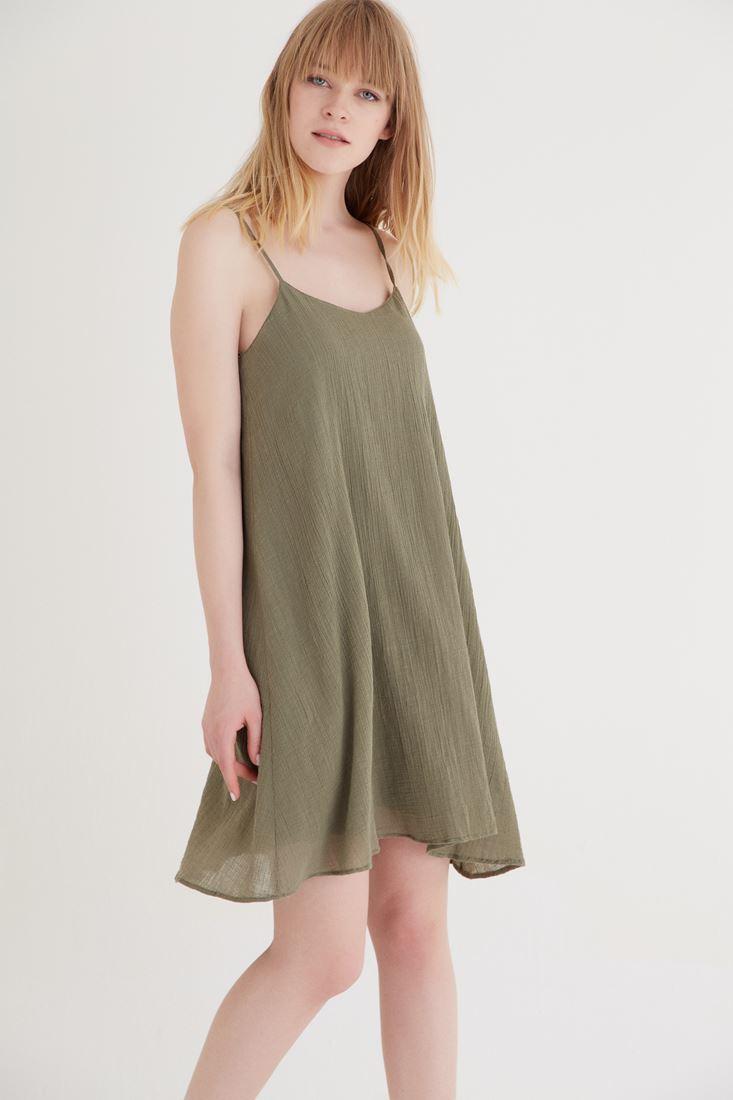 Bayan Yeşil Askılı Elbise