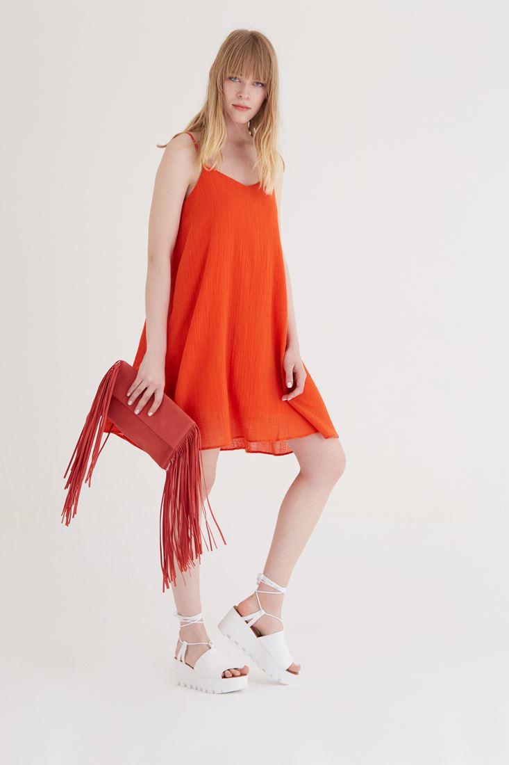 Bayan Turuncu Askılı Elbise