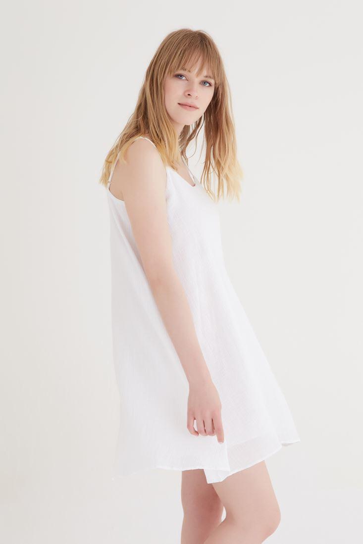 Bayan Beyaz Askılı Elbise