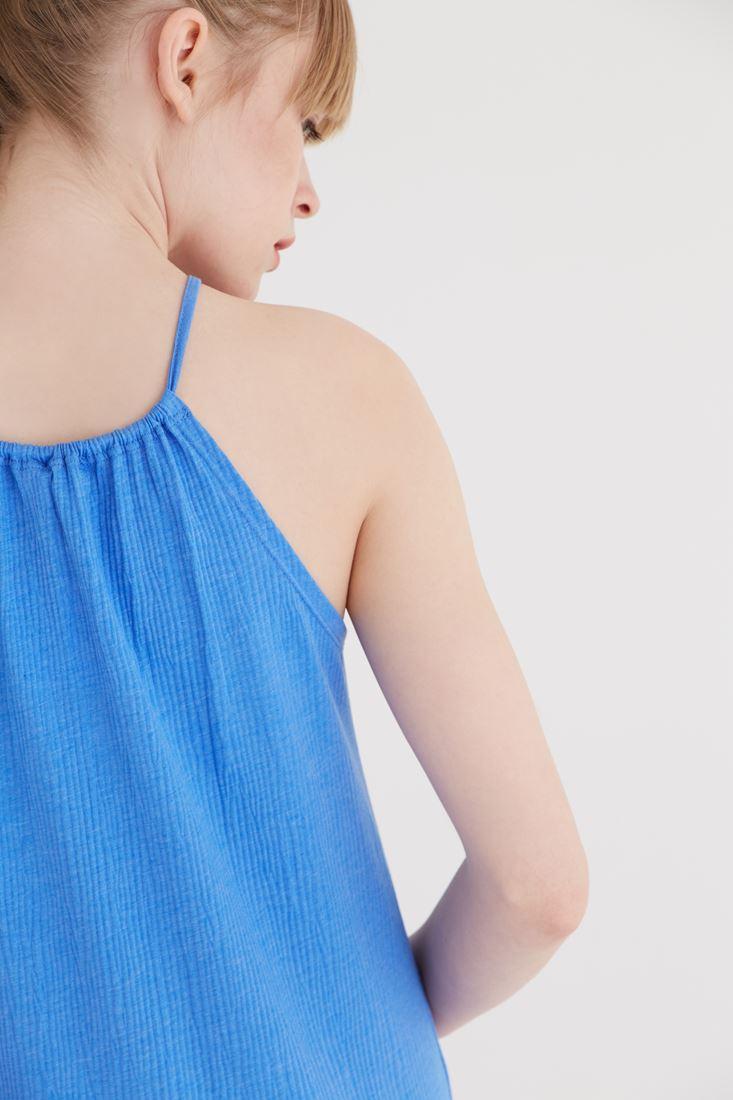 Bayan Mavi Halter Yaka Elbise