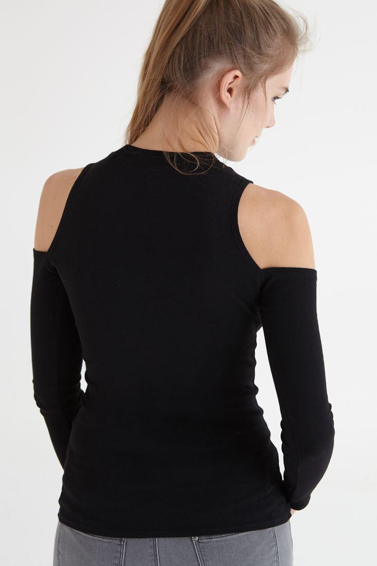 Bayan Siyah Omuzları Pencereli Tişört