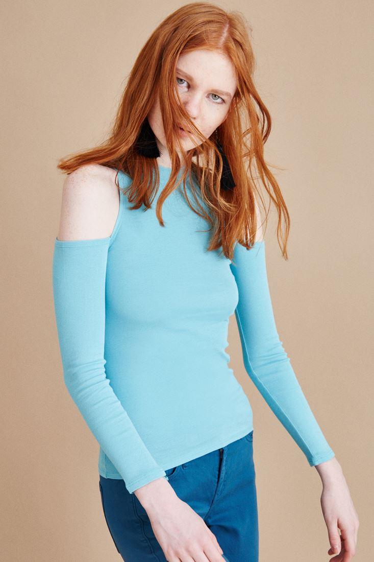 Mavi Omuzları Pencereli Tişört