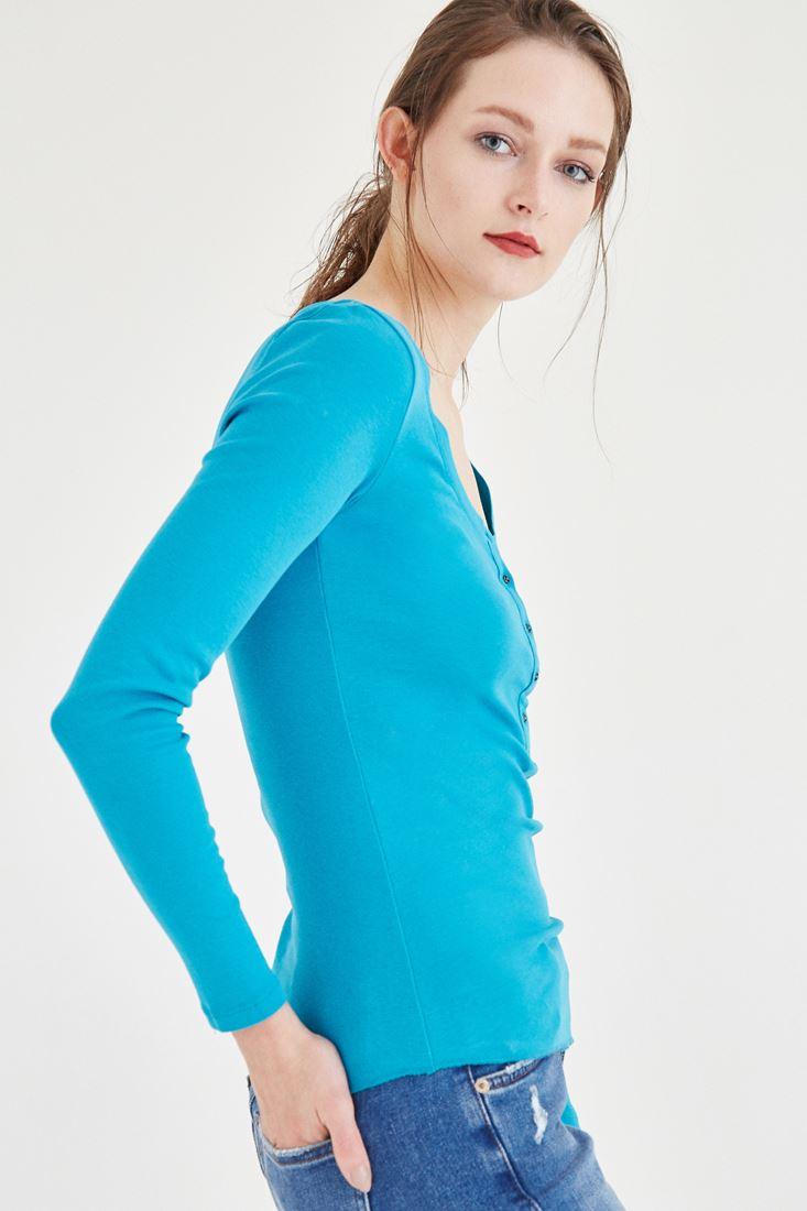 Bayan Mavi Düğme Detaylı Uzun Kollu Basic Tişört