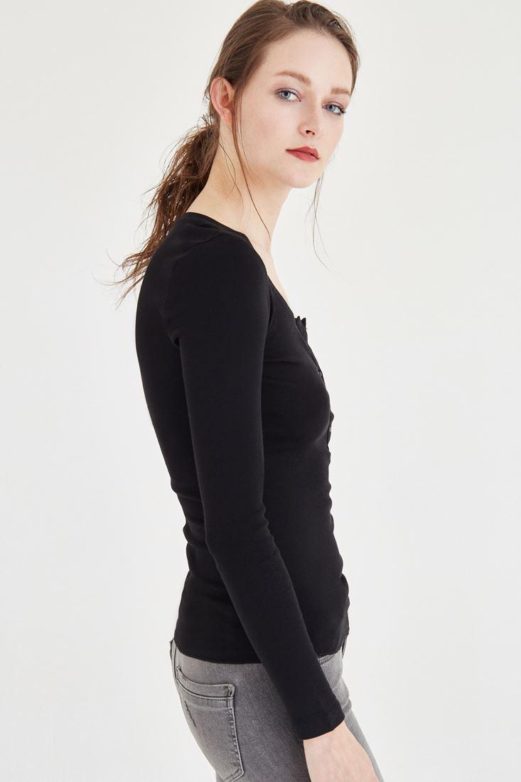 Bayan Siyah Düğme Detaylı Uzun Kollu Basic Tişört