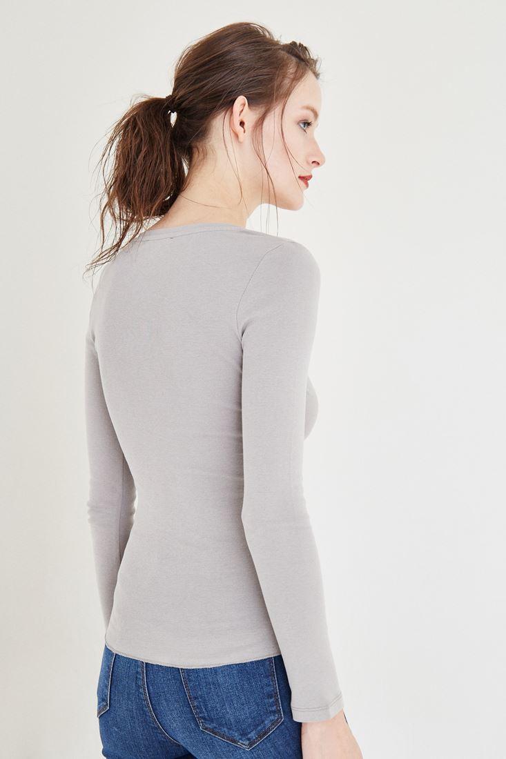 Bayan Gri Düğme Detaylı Uzun Kollu Basic Tişört