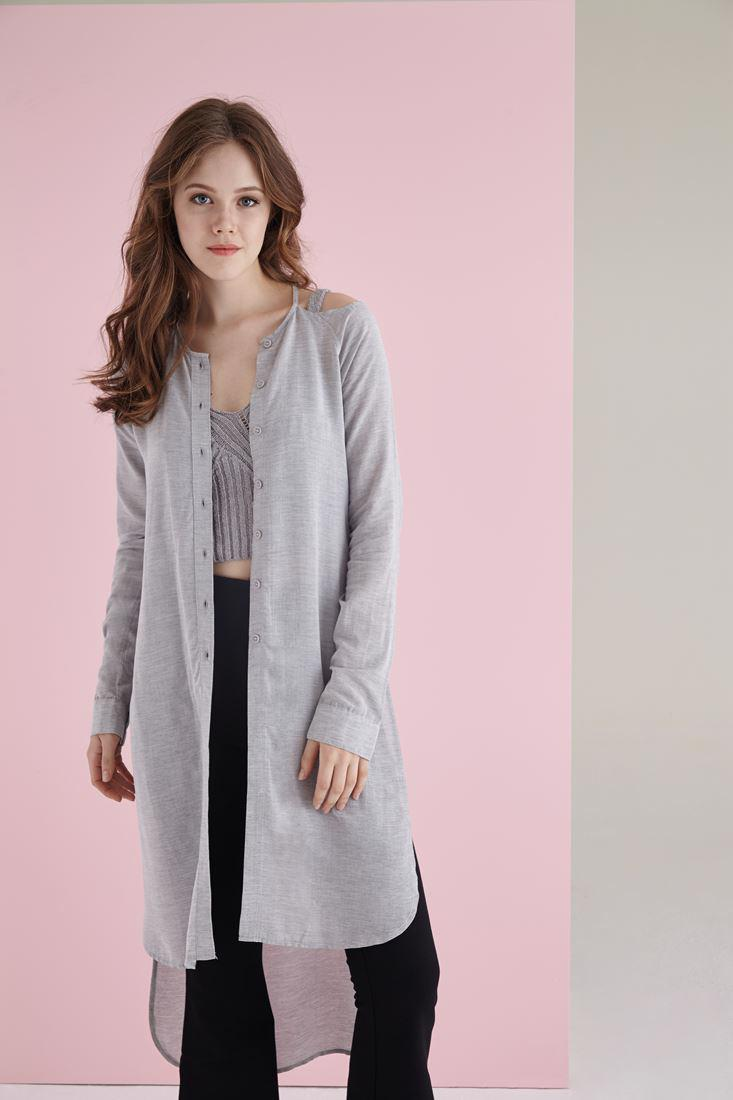 Women Grey Long Shirt